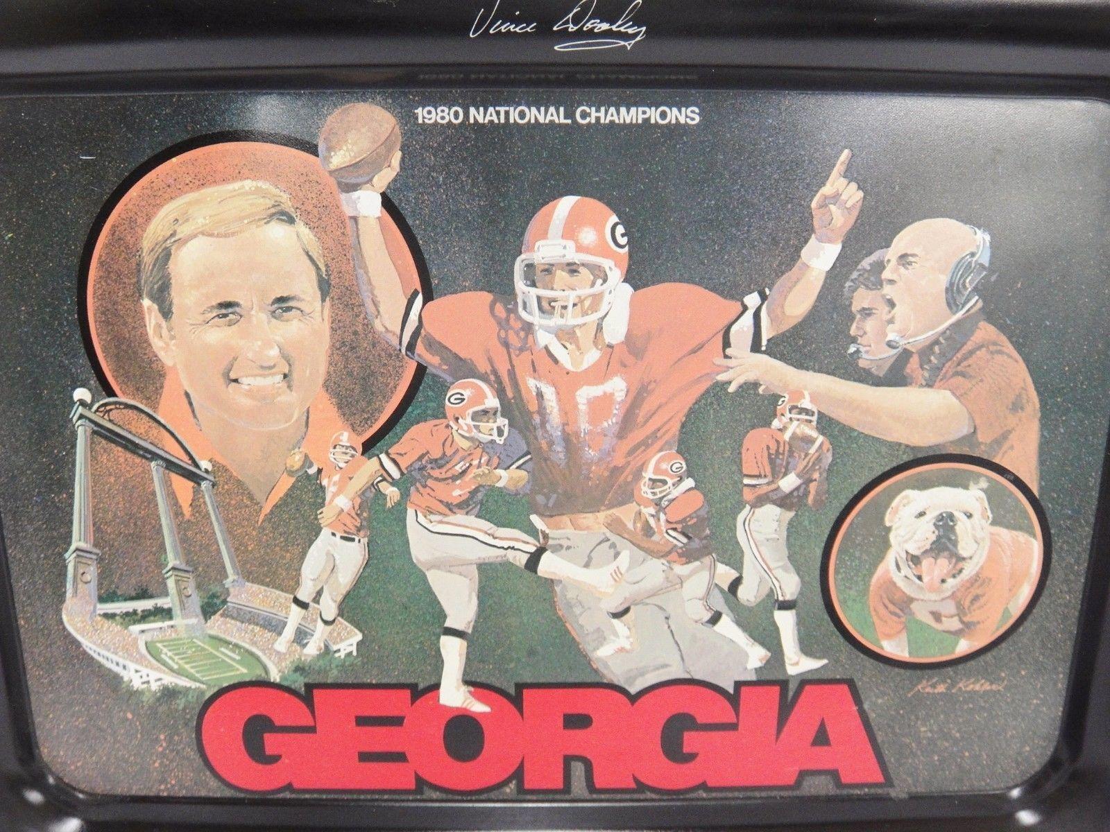 Coca Cola Georgia Bulldog Tray 1980 National Champions Vince Dooley Coach Rust