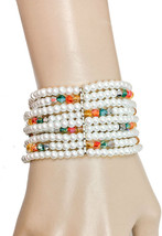Dainty Multi-strand White Faux Pearls & Multicolor Lucite Bead Stretch Bracelet  - $11.35