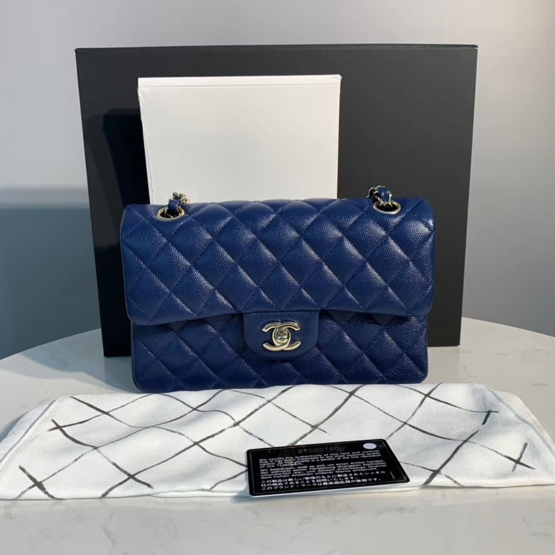 NEW AUTH CHANEL 2019 BLUE PEARLESCENT CAVIAR SMALL DOUBLE FLAP BAG GHW