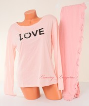 Victoria's Secret Love Sleep Pajama Set Long Sleeve Sleepshirt / Pant Peach - $39.99