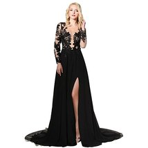 Women's Black Lace Prom Dress Gown Long Sleeves 2017 Formal Evening Party Dress  - $139.00