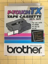 """Brother P-Touch TX Tape Cassette in TX-3341 GOLD ON 1"""" BLACK On GOLD x 5... - $24.45"""