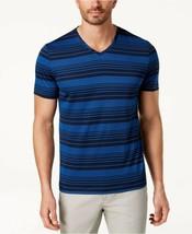 NEW MENS ALFANI STRETCH V NECK BLUE STRIPED T SHIRT TEE XXL - $12.86