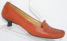 Nine West 'Jalena' orange leather round toe stitched loafer kitten heels... - $37.08