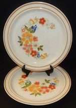 2 Sweet Flowers Collection Stoneware # 305 Stoneware  Dinner Plates Japan  - $29.69