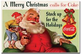 Coca Cola Santa Claus > Merry Christmas > Replica Vintage Style Poster/Ad - $1.99
