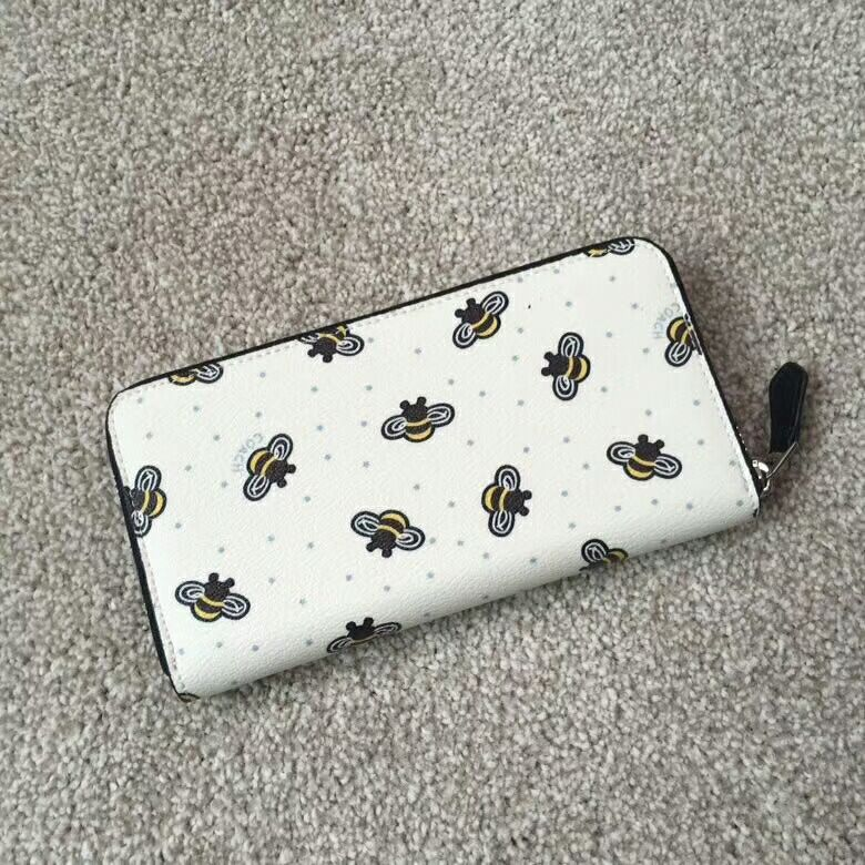 best service dc30d 3aa2a Coach Zip Around Wallet Bee Print White and 10 similar items