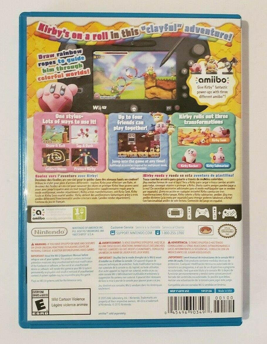 Kirby and the Rainbow Curse 2015 Nintendo Wii U Video Game CIB Complete