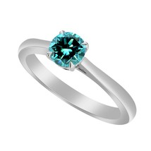 1/2 Ct Blue Topaz 10k White Gold Over Solitaire Wedding Engagement Ring - $79.99