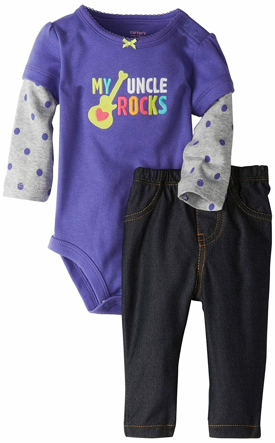"""CARTER'S GIRLS 2PC KNIT BODY SUIT & LEGGINGS """"MY UNCLE ROCKS""""  SIZE 6M NWT - $8.99"""