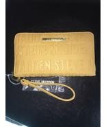Steve Madden Wallet Mustard Stamped Logo Gold Zip Organizer Wristlet Shi... - $37.00