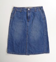 Gap Jeans Skirt Womens Size 8 Denim Blue Straight Midi Front Slit Western Casual - $16.65