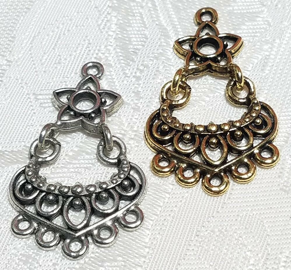 FLORAL CHANDELIER FINE PEWTER PENDANT OR EARRING PART - ONE TO FIVE - 20x35x2mm