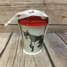 Starbucks Fox Christmas Ornament To Go Cup 2017 New Red Lid - $23.36