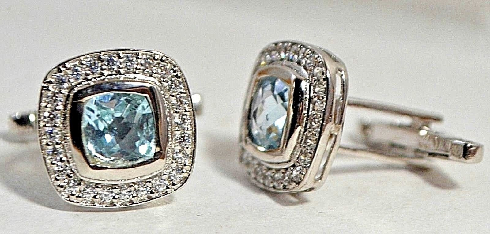 925 Sterling Silver Natural A+ Quality Blue Topaz And Cz Gemstone Artistic Handm image 3