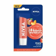 5 Pack NIVEA Lip Balm, Peach Shine, Soft Glossy Colour 24h Moisture 4.8g - $24.07