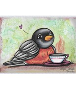A little Robin and his toasty drink - Original Drawing/Art (Mixed media,... - $18.00