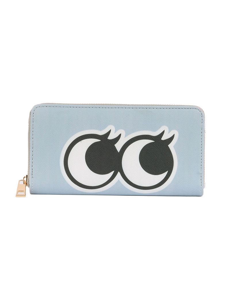 Cute! Large Eyes Eyelashes Print Zip Around Wallet Clutch Purse