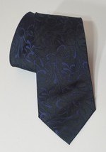 Alfani Mens Neck Tie 100% Silk Black with Navy Blue Embroidery Floral - $9.75