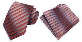 MOHSLEE Men Silver Orange Stripe Silk Tie Necktie Handkerchief Pocket Square Set image 5