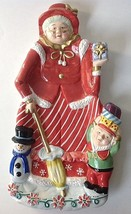 Mrs Claus Christmas Serving Tray Platter Old Lady w Parasol Elf Snowman - $29.95