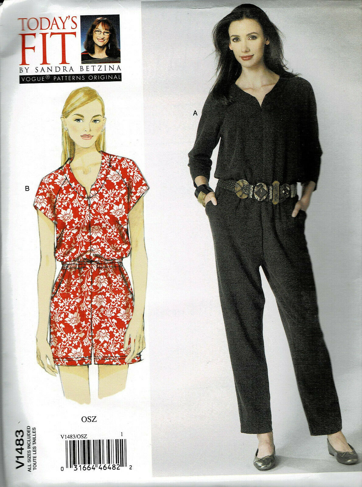 Primary image for Vogue Pattern V1483 Today's Fit Jumpsuit Cat Suit Short or Long Length All Sizes