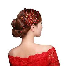 Traditional Chinese Wedding Hair Accessory Red Wheat Ear