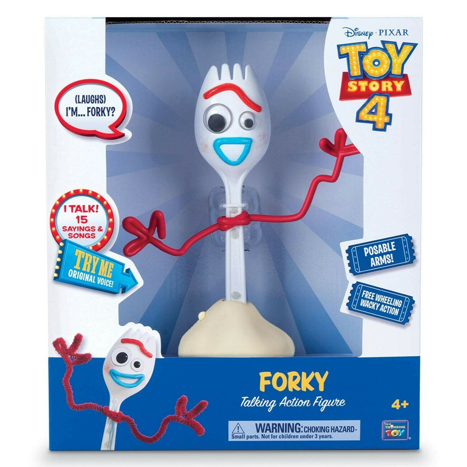 "Disney Pixar Toy Story 4 FORKY 8"" Talking Free Wheeling Action Figure 2019 NEW"