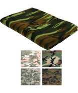"Polar Fleece Camo Throw Blanket 60"" x 80"" Thick Warm Military Camouflage... - $28.99"