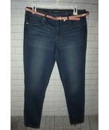 LC Lauren Conrad Skinny Capri Sz 8 Med Denim Pink Belt Mid Rise Stretch Cotton - $23.19