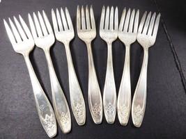 VTG 1920-30s Lady Doris Silver plated Salad Forks lot of 7 - $41.58