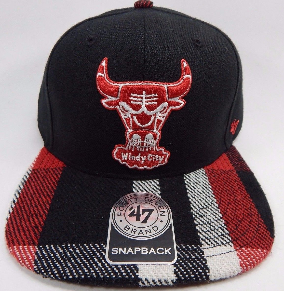 Chicago Bulls Windy City 47 Brand Official NBA Flannel Brim Snapback Cap Hat Red
