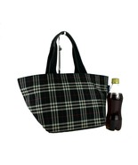 Auth BURBERRY Blue Label Nova Check Black Canvas Leather Hand Bag Tote B... - $167.31