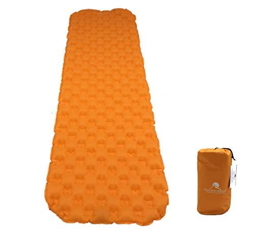 Premium Ultralight Inflatable Camping Sleeping Pad - Padded Inflating (Orange)
