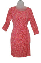 Women's Petite Above Knee Dress by Spense 3/4 Sleeve Pink Orange Cream PS - $22.00