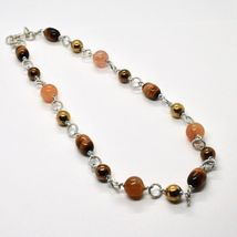NECKLACE THE ALUMINIUM LONG 48 CM WITH TIGER'S EYE JADE AND HEMATITE image 2