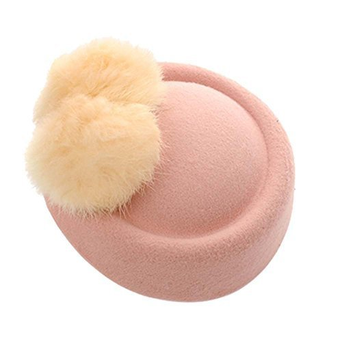 Wool Fedora Hat Small Hat Hairpin Side Clip Hair Accessories, Light Pink