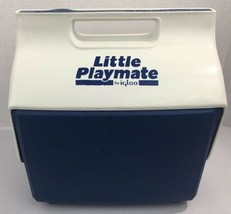 Vintage 1990 Little Playmate Cooler By IGLOO Blue & White Hard Sided Mad... - $23.46