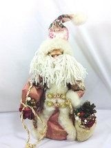Vintage Santa Claus Father Christmas Tree Topper Figure Pink Robe Cottag... - $29.69