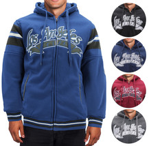 Men's Athletic Los Angeles Varsity Sherpa Fleece Lined LA Zip Up Hoodie Jacket
