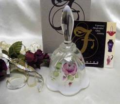 3372 Fenton Handpainted Cottage Roses Bell - $55.50