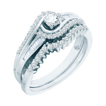 10k White Gold Round Diamond Bridal Wedding Engagement Ring Band Set 1/2 Ctw - £465.62 GBP