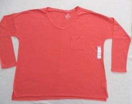 Old Navy Women Top 2XL Orange Boyfriend  Solid Casual  Linen Polyester 1811 - $9.36