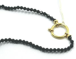 """18K YELLOW GOLD 18"""" 45cm NECKLACE FACETED BLACK SPINEL BIG DROP DISC PEARLS image 3"""