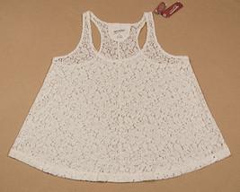Arizona Nwt Womens Medium Tank Top Shirt Coconut Milk Color Shimmery Lace New - $12.61