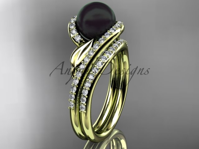 Black Cultured Pearl Wedding Set 14kt Yellow Gold Diamond Engagement Ring ABP317