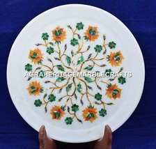 "12"" Gorgeous Marble Round Serving Plate Inlay Malachite Kitchen Art Decor H5419C - $185.97"