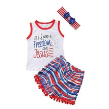 3PCS Kids Baby Boy Girl Fourth of July Freedom Top T-shirt+Pants Outfits... - $11.18+