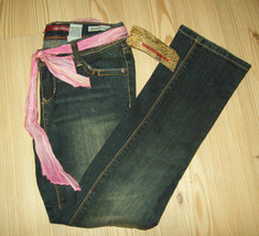 Unionbay Girls Jeans Size 8 Reg. Straight Blue Denim Adj.Waist Casual Sc... - $21.55