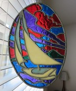 Vintage Hand Crafted Stained Leaded Glass Sun Catcher Sail Boat Red Purp... - $106.86